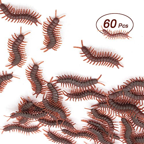 (X Hot Popcorn 60 Pcs Fake Centipedes Simulated Centipedes Insect Prank Toys for Halloween Party Favors and Decoration)