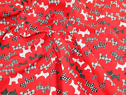 Dog Fabric Scottie (Scottie Dogs Print Polycotton Fabric Red - per metre)
