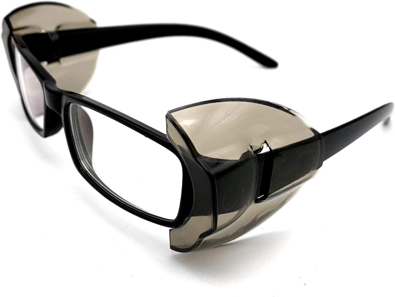 KOSTOO - Protectores laterales para gafas de seguridad, 2 pares de protectores laterales para gafas de seguridad, protección para los ojos, se adapta a gafas de tamaño mediano a grande, blanco