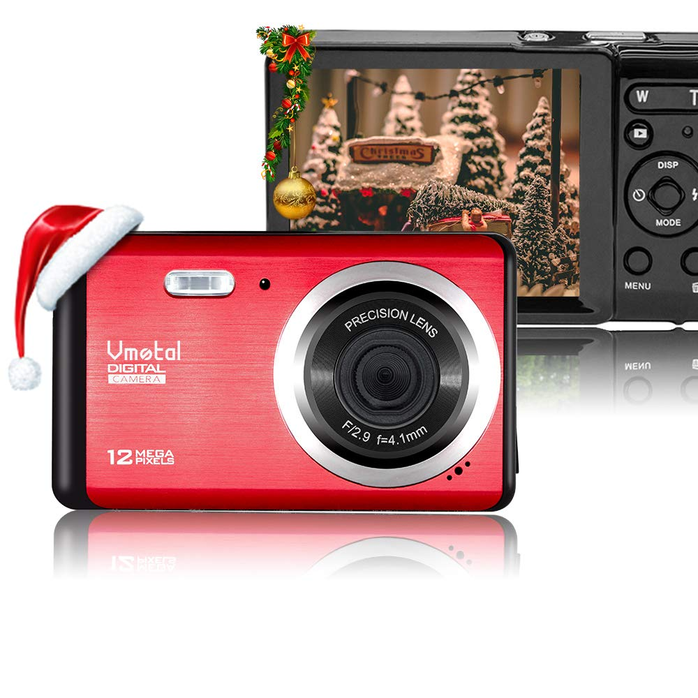 Vmotal 12 Mega Pixels 3 inch LCD Rechargeable HD Digital Camera,Video Camera Digital Students Cameras,Indoor Outdoor for Adult/Seniors/Kids (Red) by Vmotal