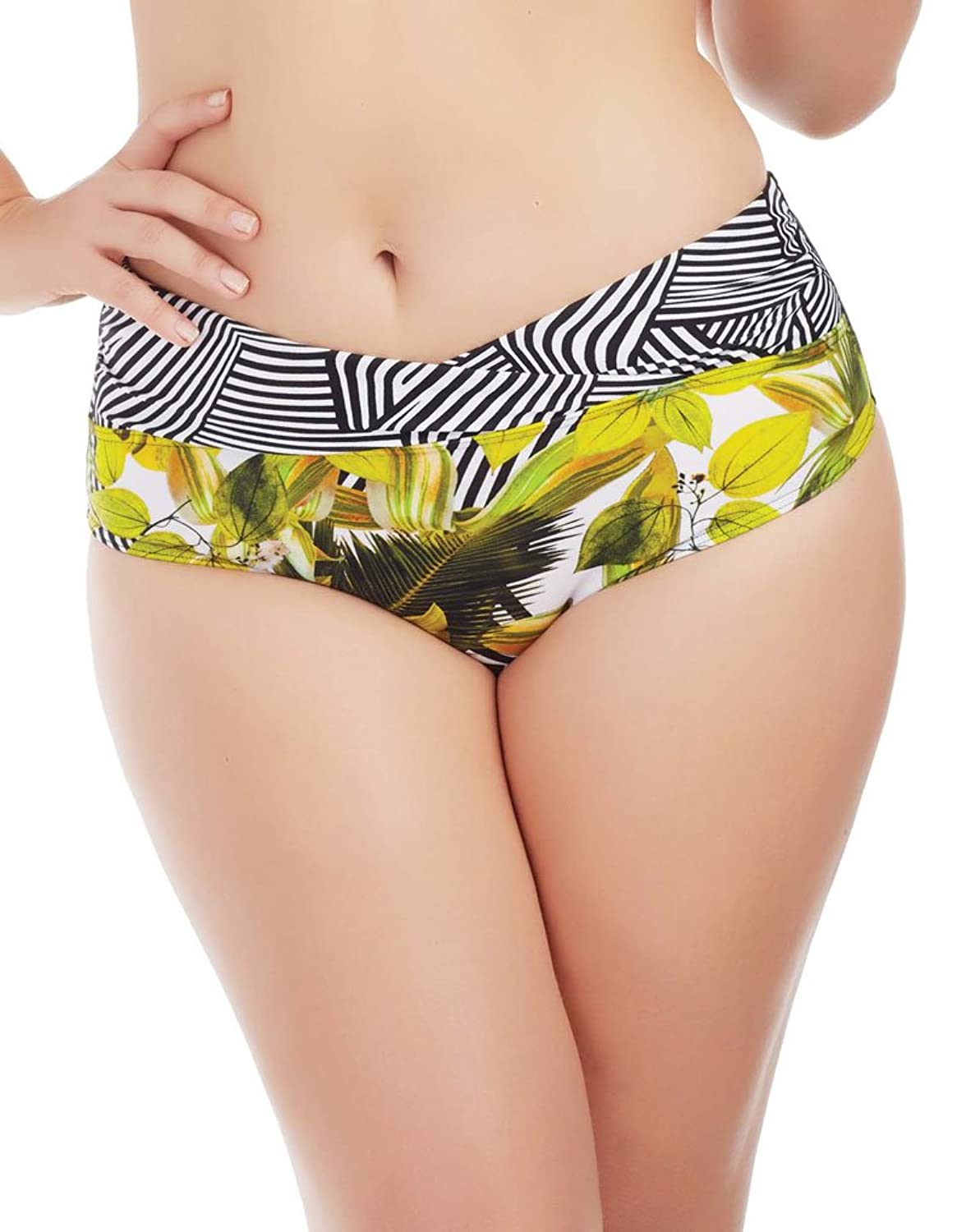 Marc and Andre L1706-ZP-HWD Women's Yellow and Black Floral Swimwear Bikini Bottom