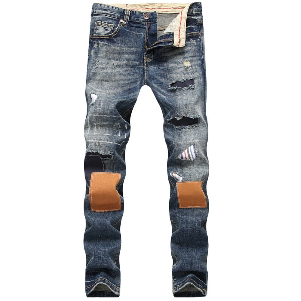 LIYT Mens Fashion Slim Fit Hole Patch Ripped Jeans Trousers