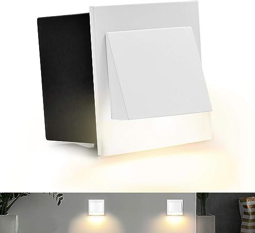 Geldee LED 3W lámpara de escalera lámpara empotrable en la pared para el exterior, redondo, 2700K blanca cálida, IP67: Amazon.es: Iluminación