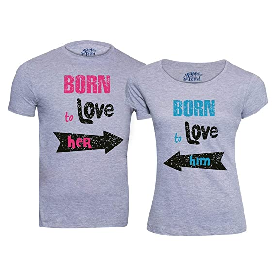 9df3728f5e Bon Organik Cotton Born to Love,Matching Couples Valentines Day Tshirts/Printed  Cotton T
