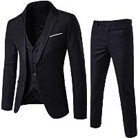 WEEN CHARM Men's Two Button Notch Lapel Slim Fit 3-Piece Suit Blazer Jacket Tux Vest & Trousers Set