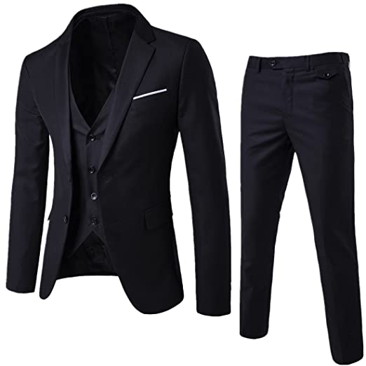 cb6641f8a406 YIMANIE Mens Suit 3 Piece Single Breasted Jacket Two Button Slim Fit Blazer  Tux Vest Trousers,