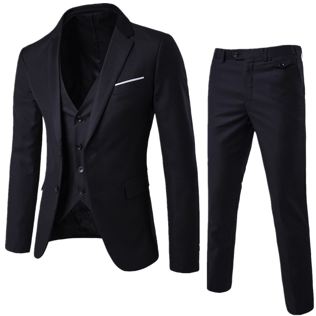 YIMANIE Mens Suit 3 Piece Single Breasted Jacket Two Button Slim Fit Blazer Tux Vest&Trousers, Black, Large