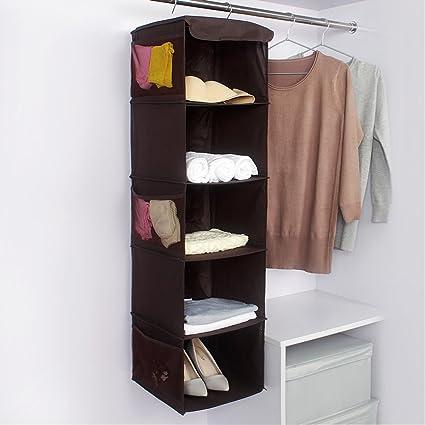 Ghope 5 Shelf Hanging Closet Organizer   Side Mesh Pockets Breathable  Polypropylene Hanging Shelves