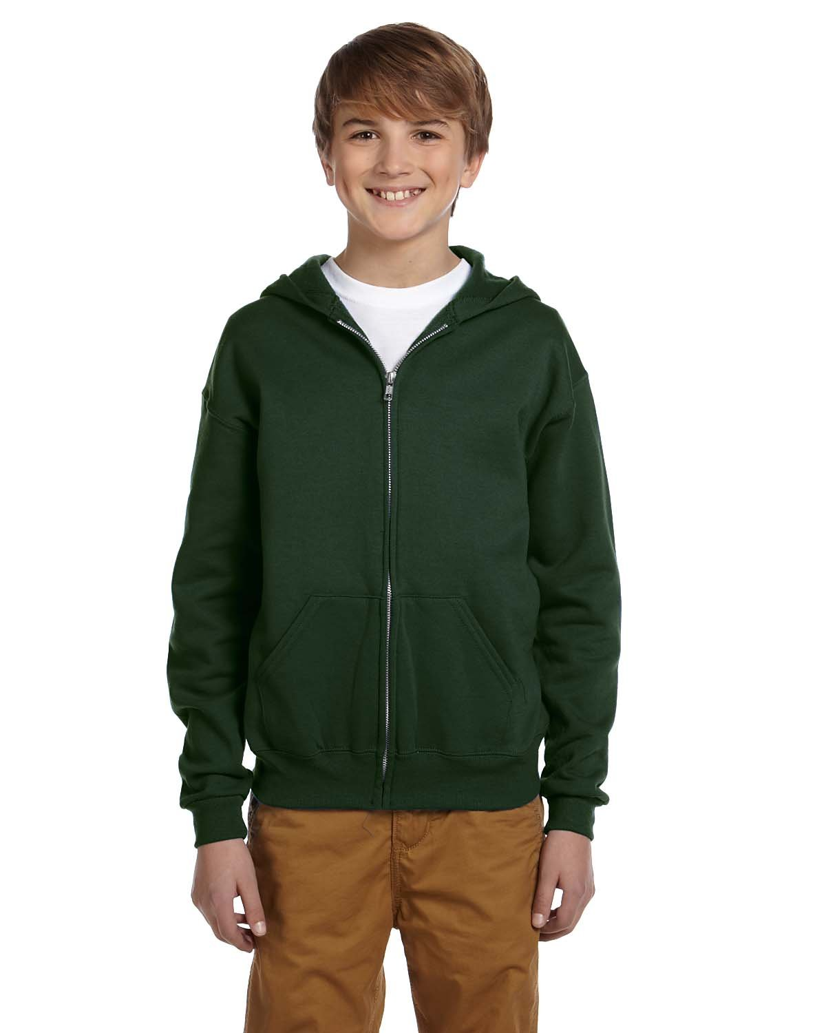 Jerzees Youth Nublend Full-Zip Hooded Sweatshirt, Frst Green, Medium