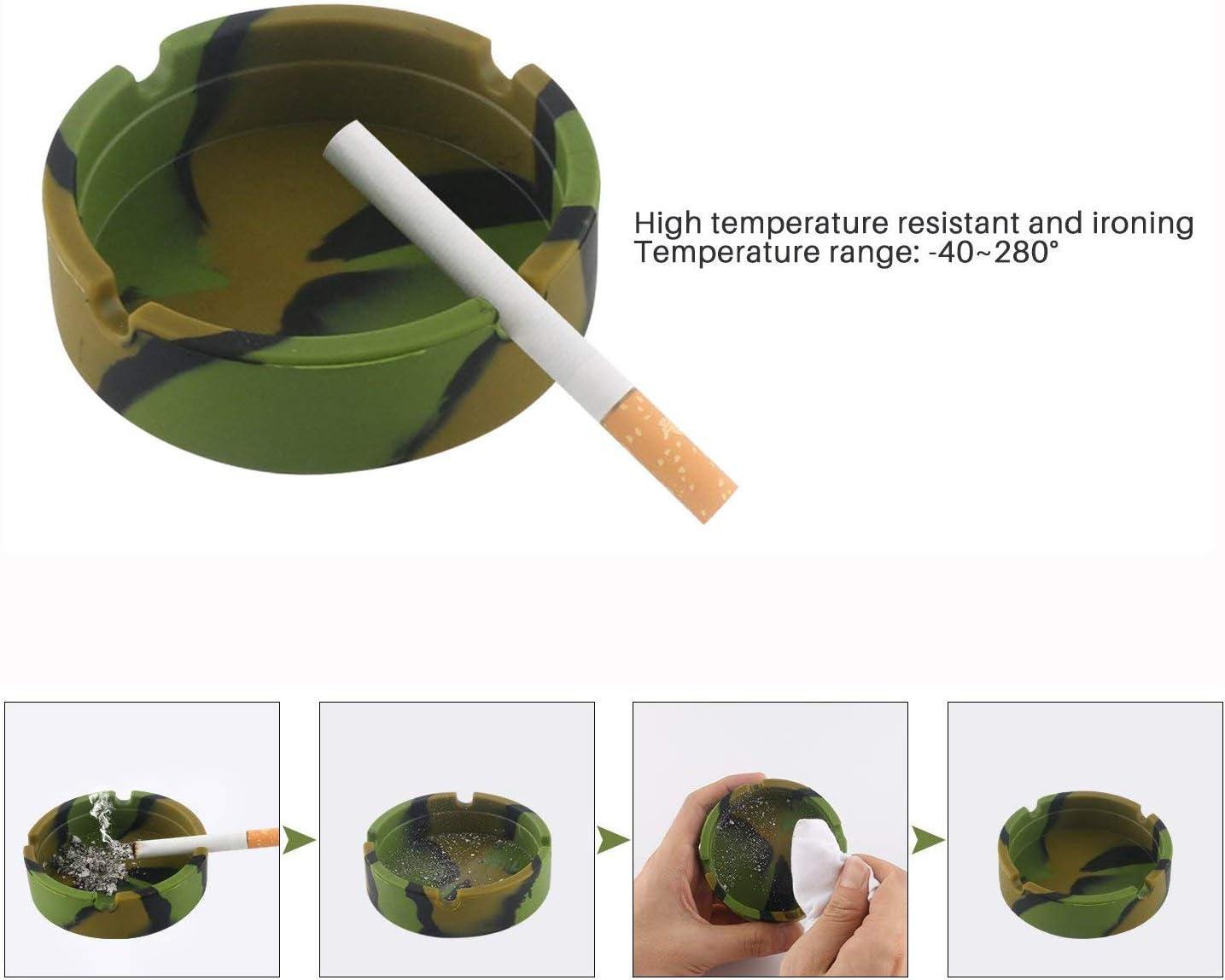 Gizhome 3 Pack Silicone Ashtray Premium Silicone Rubber High Temperature Heat Resistant Round Design Ashtray Durable Camouflage Colors