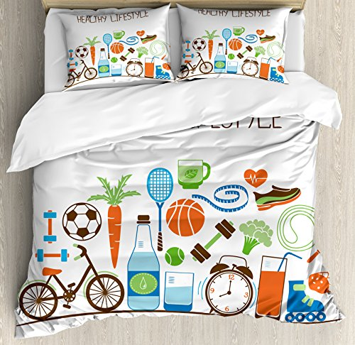 Fitness Queen Size Duvet Cover Set By Ambesonne  Healthcare Theme Athletic Energetic Life Routine Wellness Gym Equipment Vegetables  Decorative 3 Piece Bedding Set With 2 Pillow Shams  Multicolor