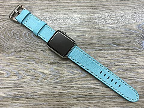 Apple Watch Band, Apple Watch Strap, Leather Watch Band, Leather Watch Strap, Turquoise Colour Leather For Apple Watch 38mm & (Rolex Color)