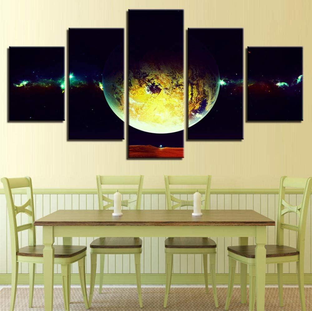 PrintWUHUA Cuadros De Salon Decoracionplaneta del Espacio Exterior, Paisaje Cuadros Dormitorios Modernos 5 Partes (W) 150Cmx(H) 80Cm