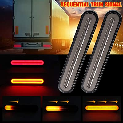 "MIHAZ Trailer Tail Light Bar - 9"" Running, Brake, Sequential Amber Turn Signal Tail Light for Trailer Truck RV Pickup SUV RV Van, Red/Amber 2Pcs 1yr-Warranty: Automotive"