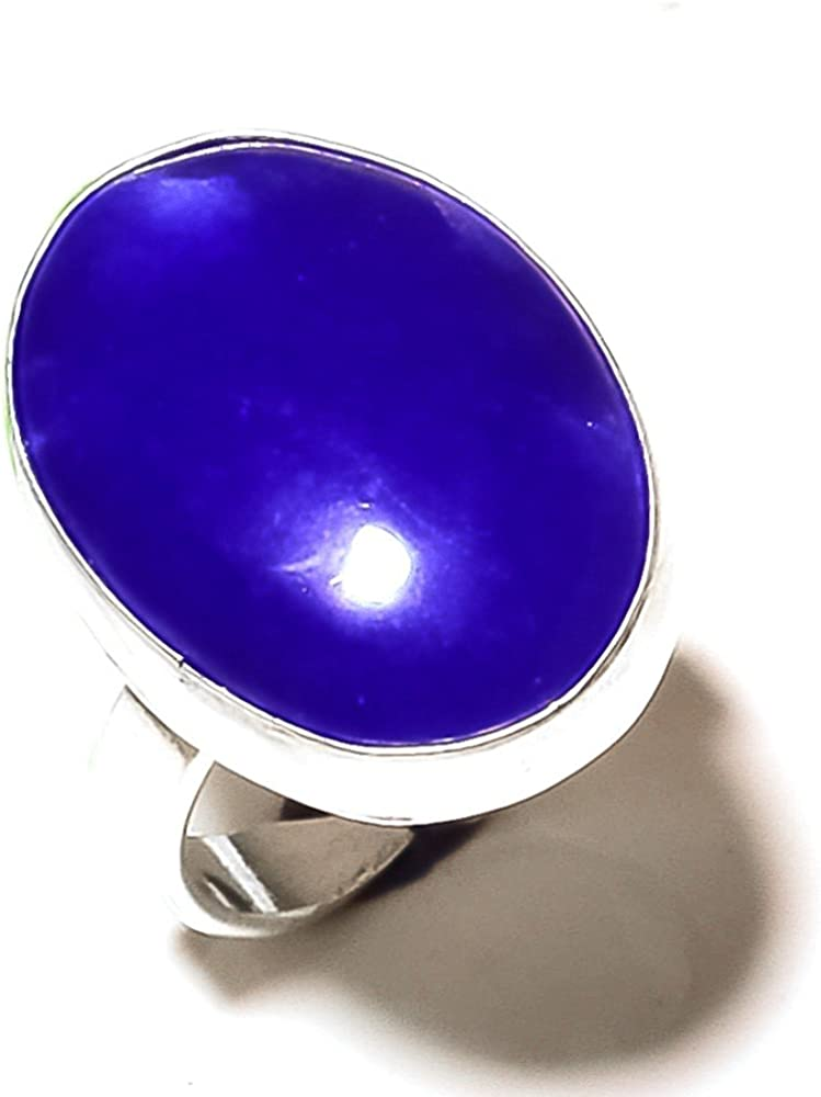 Sizable Gorgeous Blue Dyed Sapphire Sterling Silver Overlay 10 Grams Ring Size 8 US