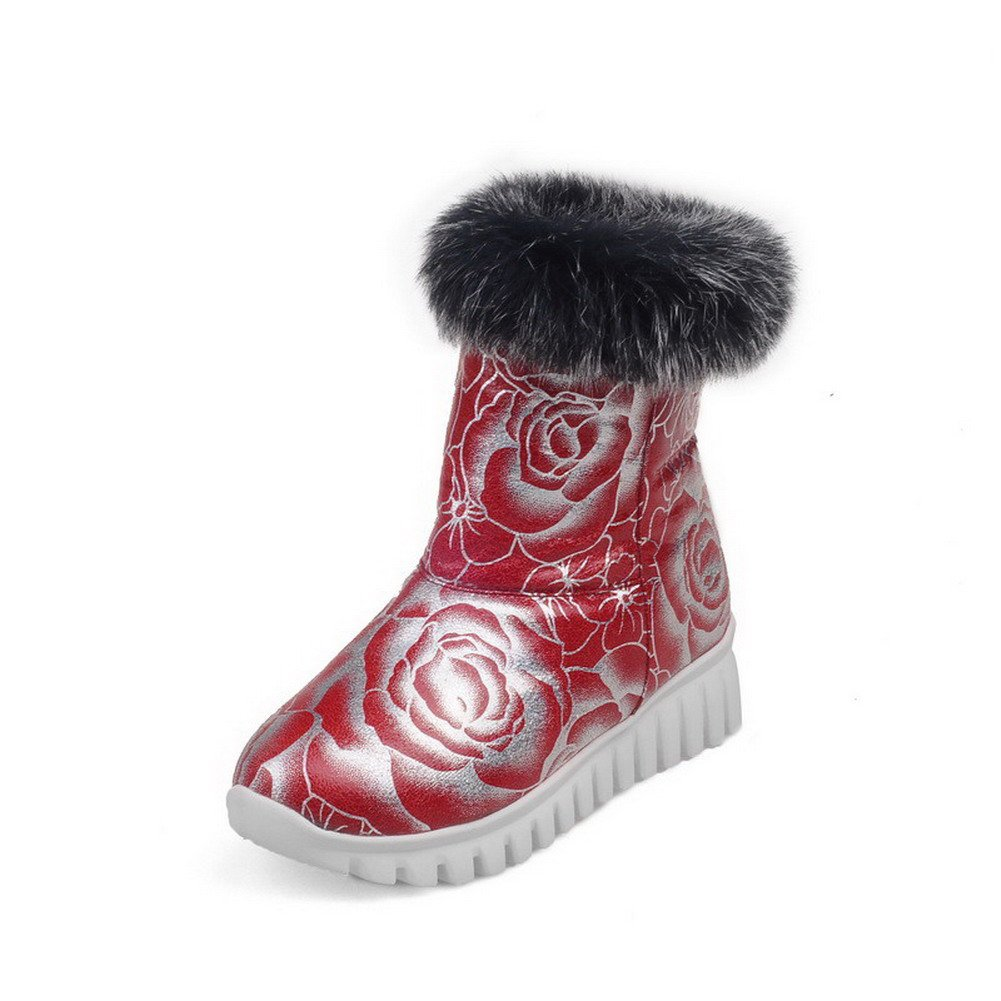 AllhqFashion Women's Low-Heels Soft Material Low-top Assorted Color Pull-on Snow-Boots, Red, 44 by AllhqFashion