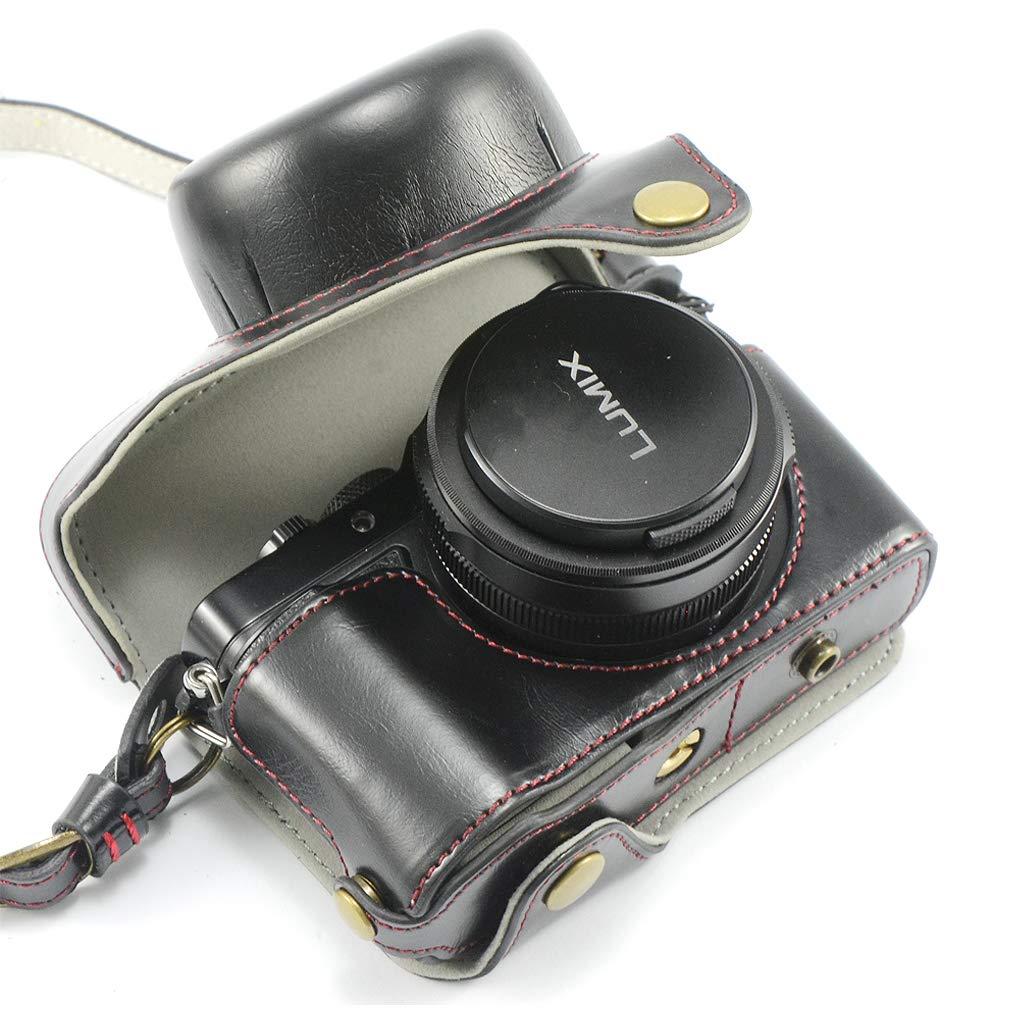 Borsa in pelle alto PU per fotocamera digitale custodia per con tracolla Panasonic Lumix DC-LX100 II Marrone scuro