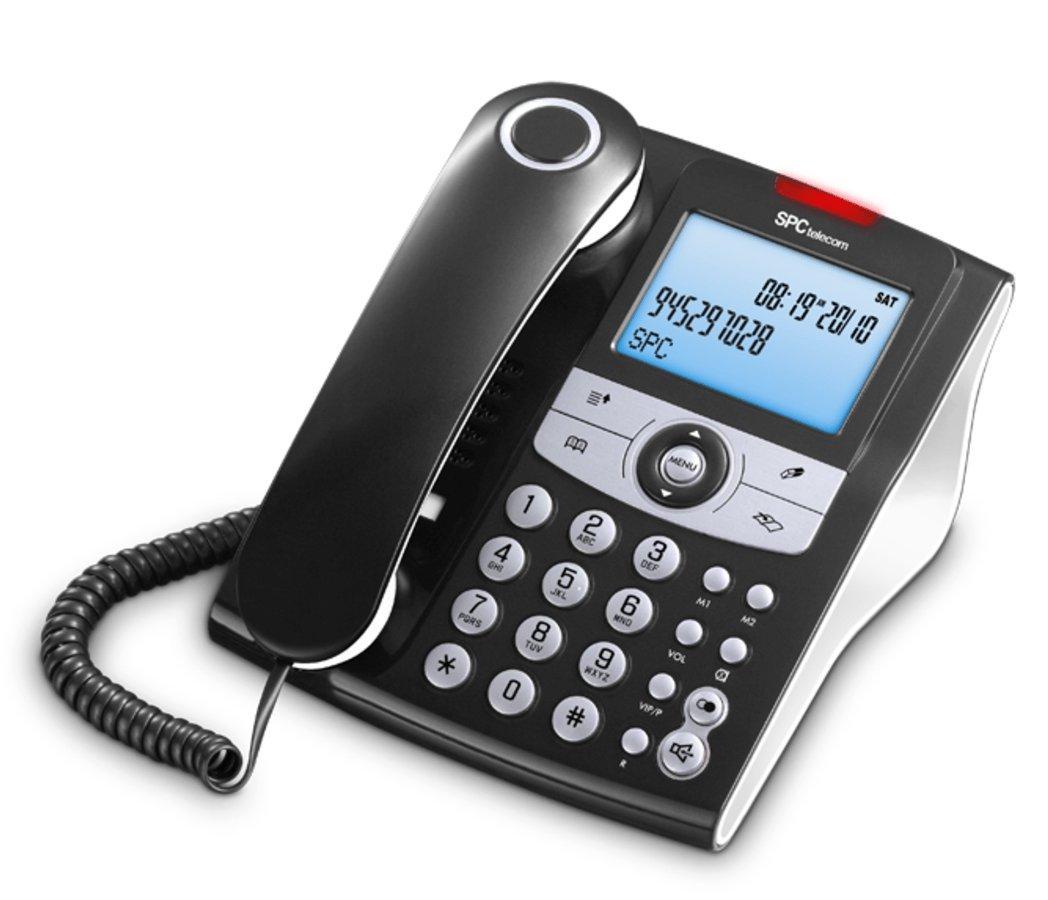 SPC Elegance ID teléfono fijo con agenda de 70 nombres y números, memorias directas y posibilidad de funcionar sin pilas