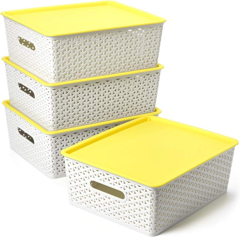 EZOWare 4 pcs Cestas de Almacenaje Multiuso con Tapas, Cajas Organizadoras de Plástico Apilable con Efecto de Mimbre y Asas para Cocina, Baño - Gris Claro y Amarillo / 36 x 29.5