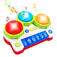 AMOSTING Learning Educational Development Musical Keyboard Drums Set for Toddler and Babies