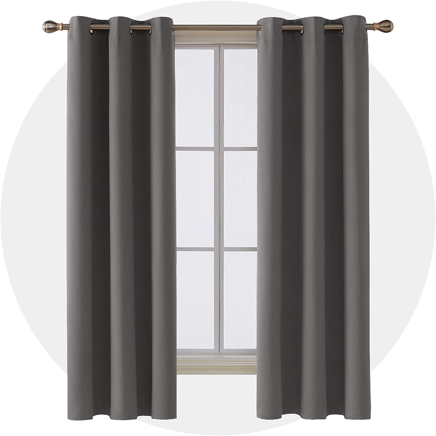 Deconovo Room Darkening Thermal Insulated Blackout Grommet Window Curtain for Bedroom, Light Grey,42x84-Inch,1 Panel