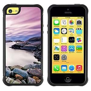 LASTONE PHONE CASE / Suave Silicona Caso Carcasa de Caucho Funda para Apple Iphone 5C / Beautiful Rocky Shore Lake