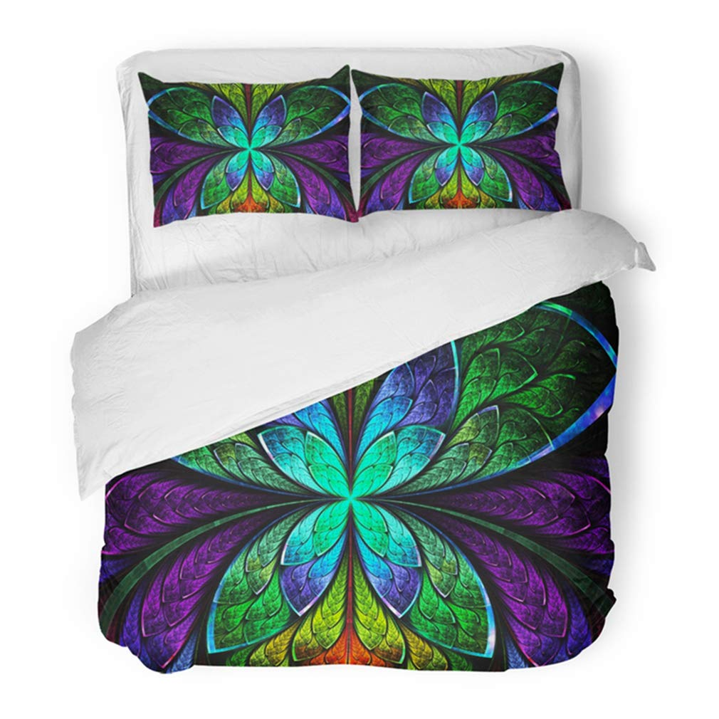 Emvency Bedding Duvet Cover Set Twin (1 Duvet Cover + 1 Pillowcase) Multicolored Symmetrical Fractal As Flower Butterfly in Stained Glass Window Hotel Quality Wrinkle and Stain Resistant