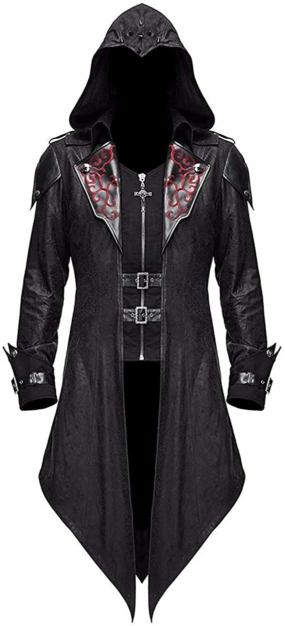 Devil Fashion Men's Steampunk Gothic Hooded Leather Jacket Coat Halloween Cosplay Stage Performance Costume: Clothing