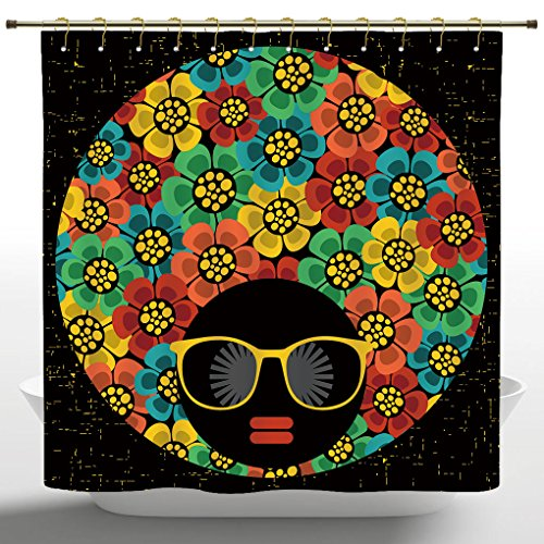 Waterproof Shower Curtain by iPrint,70s Party Decorations,Abstract Woman Portrait Hair Style with Colorful Flowers Sunglasses Lips Graphic,Multicolor,Polyester Fabric Bathroom Curtain -