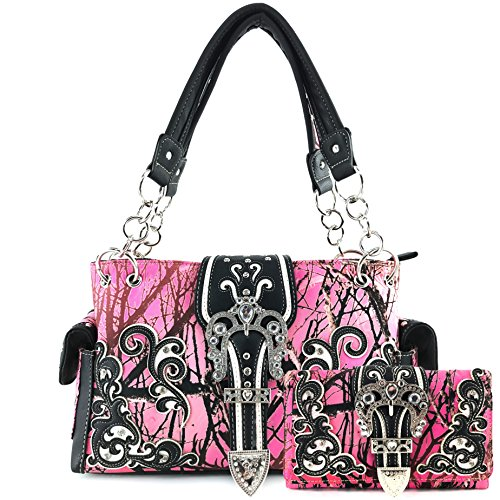 Justin West Western Brown Purse Tooled Laser Cut Floral Design Studs Rhinestone Buckle Concealed Carry Handbag Trifold Wristlet Cross Body Strap Wallet Set (Pink)