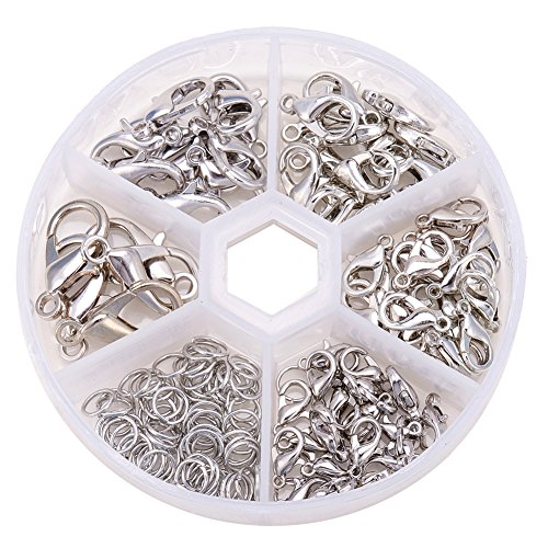 Clasp One (Pandahall 1 Box Platinum Alloy 70 pcs Mixed Size Lobster Claw Clasps + 40~50 pcs 6mm Open Jump Rings Value Pack Box Set Assortment Nickel Free)