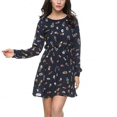 Women Feather Print Dress Chiffon Mini A Line Dress O Neck Long Sleeve Vestido