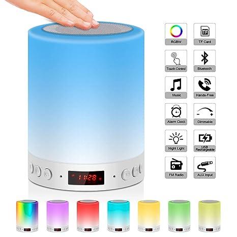 Lámpara de mesita de noche con altavoz Bluetooth y radio FM, reloj digital despertador,