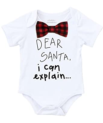 noahs boytique baby boy christmas outfit dear santa i can explain buffalo plaid bow tie no