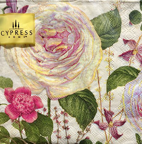 Cypress Home Cocktail Beverage Paper Napkins ~ Belle Rose 40 (Rose Beverage Napkins)