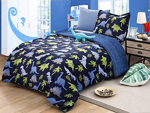 - All American Collection New Super Soft and Warm 3 Piece Borrego/Sherpa Blanket with Pillow Sham and Cushion Twin Size (Dinosaur)