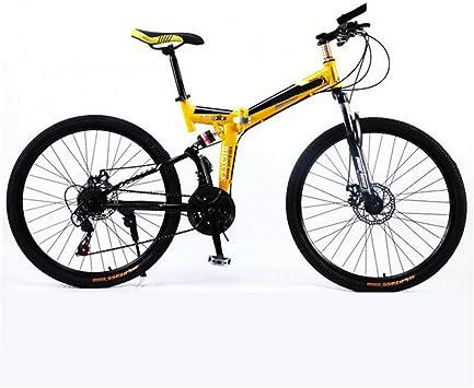 PHY Montaña de la Bicicleta Plegable Adultos Ruedas de 26 Pulgadas Hombres 17.5 Pulgadas/Marco de Aluminio Mediana, suspensión Dual, de Freno de Disco mecánico,21 Speed: Amazon.es: Deportes y aire libre