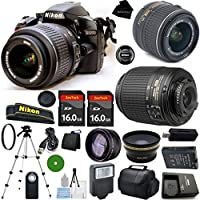 D3200 24.2 MP CMOS Digital SLR, NIKKOR 18-55mm f/3.5-5.6 Auto Focus-S DX VR, 55-200mm f4-5.6G ED Auto Focus-S DX Nikkor, 2pcs 16GB BaseDeals Memory, Case, Wide Angle, Telephoto, Flash