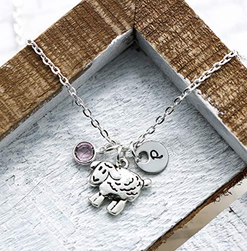 Sheep Necklace for Girls, Kids, Women - Farm Animal Jewelry - Personalized Silver Sheep Gifts - Custom Initial & Birthstone - Fast Shipping