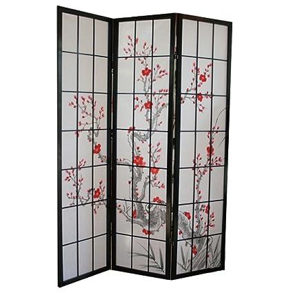 Paravento in legno con fiore di ciliegio nero di 3 pannelli: Amazon ...