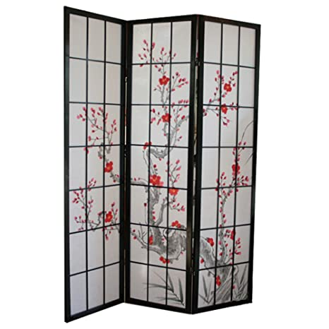 PEGANE Paravento in legno con fiore di ciliegio nero di 3 pannelli ...