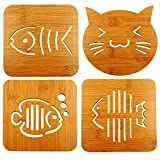 Popculta 4Pcs Bamboo Trivet Hot Pot Holder Coaster Pad Cat & Fish Design with Holder