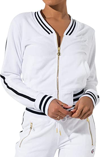 Champion Life Womens Vintage Terry Athetic Full Zip-Up Track Jacket