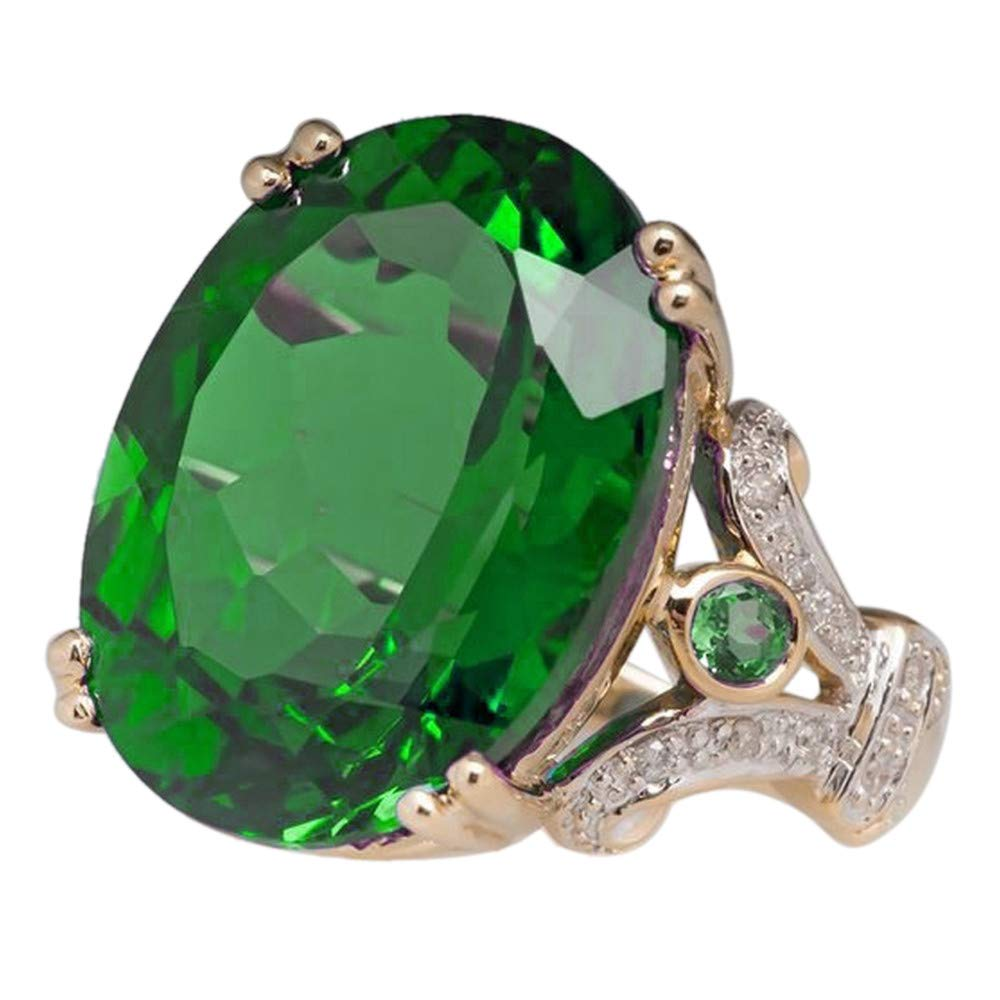 HUAMING Fashion Jewelry Gold Filled Oval Sapphire Ring Silver Zircon Plated Engagement Band Wedding Ring for Women Good (Green, 7)