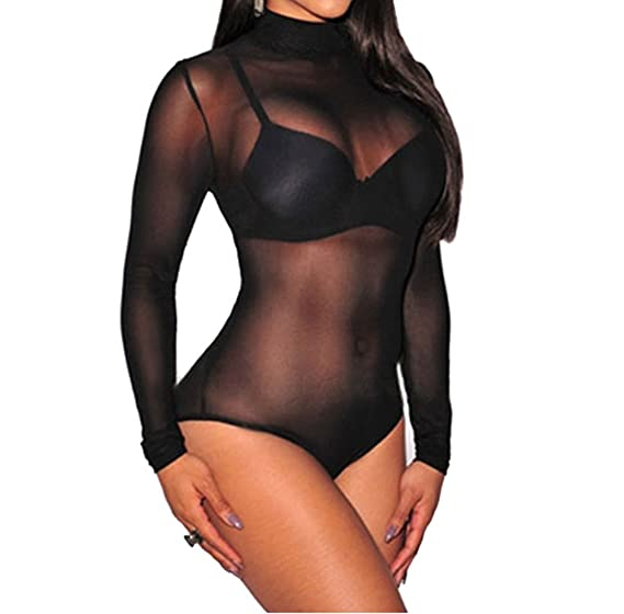 cc2a9862eb Amazon.com  SUBWELL Womens See Through Mesh Mock Neck Long Sleeve Leotard  Bodycon Bodysuit Tops  Clothing