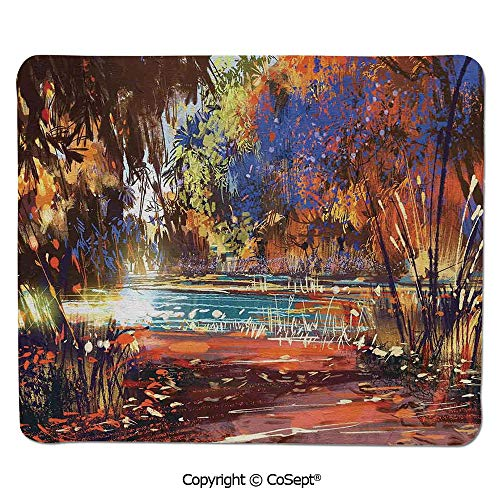 (Gaming Mouse Pad,Refreshing Nature Painting at Serene Pond Illusionary Perspective Swamp,Water-Resistant,Non-Slip Base,Ideal for Gaming (11.81
