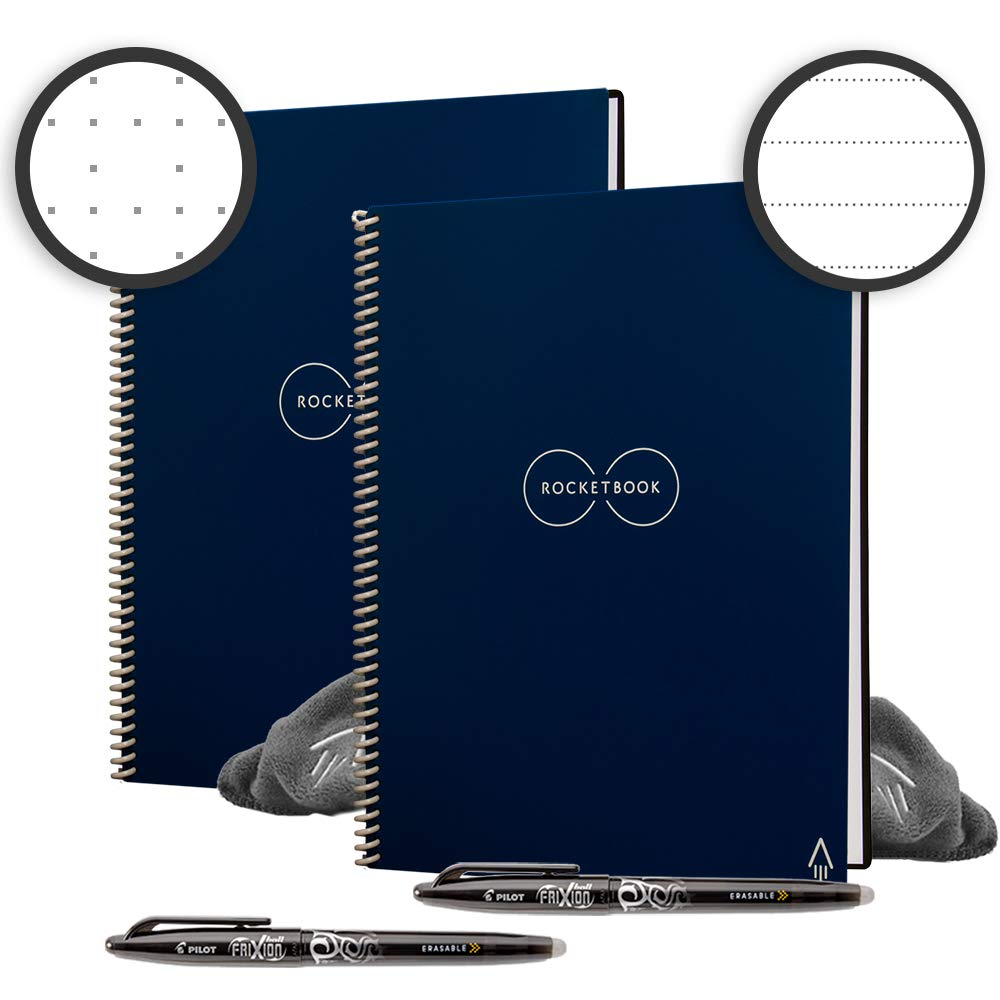 Rocketbook Back to School Bundle - 2 Smart Reusable Notebook Set with 1 Lined & 1 Dot Grid Notebook, 2 Pilot Frixion Pens & 2 Microfiber Cloths - Midnight Blue Cover, Letter Size (8.5'' x 11'') by Rocketbook