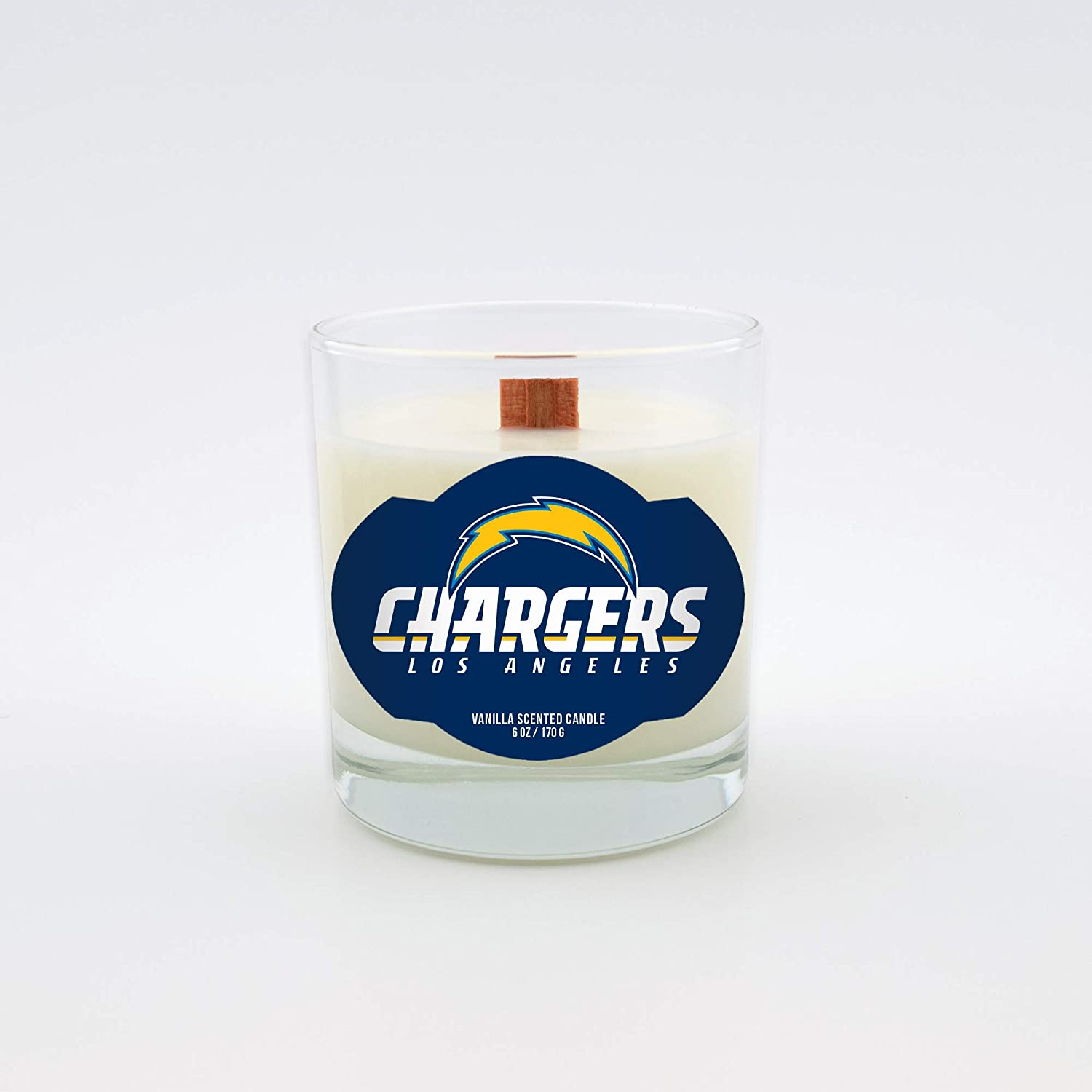 Worthy Promotional NFL LA Chargers Vanilla Scented 6 oz Soy Wax Candle Wood Wick
