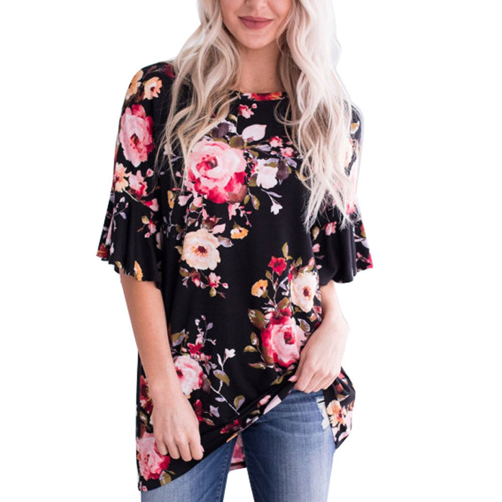 iLOOSKR Women's Plus Size Swing Tunic Top Short Sleeve Printed Shirt Blouse(Black,XXL)