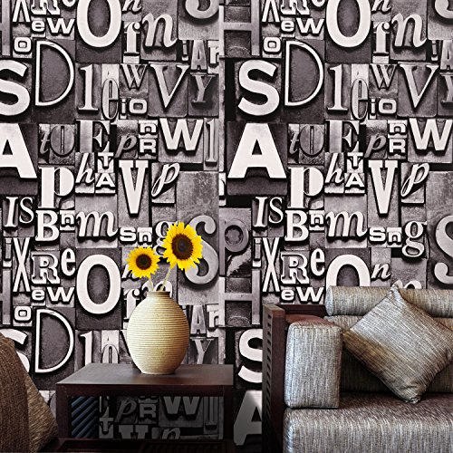 Homdox Wallpaper, Modern PVC 3D Letter Print Wallpaper, Home Decor Wallpaper for Living room, Bedroom and TV Background (Metallic Gray) - Purple Striped Wallpaper